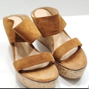 GIANVITO ROSSI Double Band Platform Wedge Slides